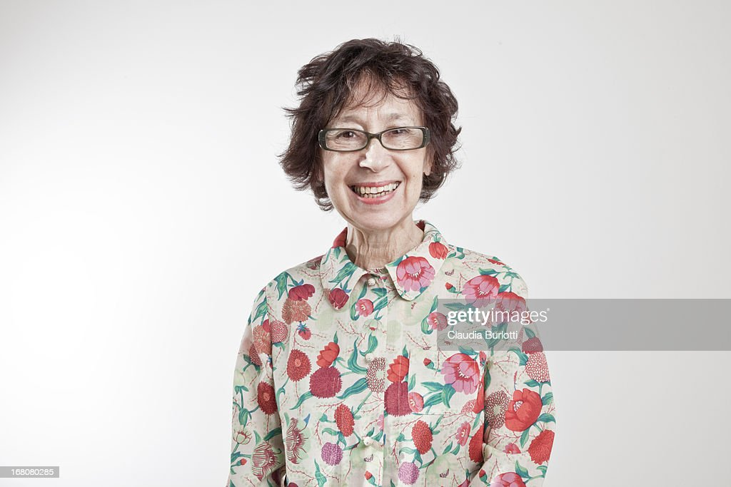 Happy Old Lady in Colorful Shirt : Stock-Foto
