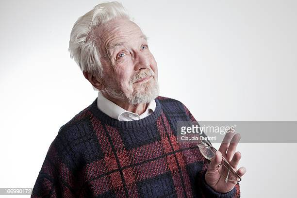 happy old man - waist up stock pictures, royalty-free photos & images