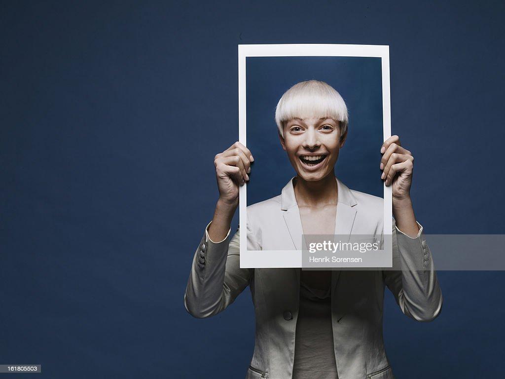 Happy Paper Girl : Stock Photo