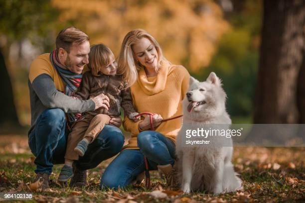 Glückliche Eltern und ihren kleinen Sohn in Herbsttag mit ihrem Hund im Park genießen.