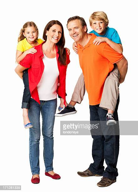 Happy Parents Giving Piggyback Ride To Children