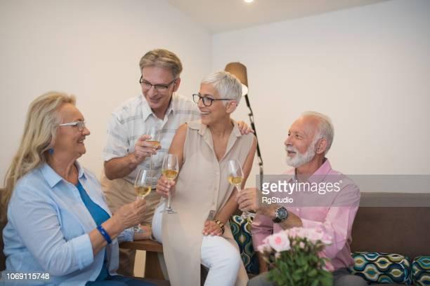 happy people drinking wine
