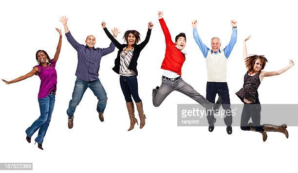 happy people jumping (isolated; xxxl) - jumping stock pictures, royalty-free photos & images