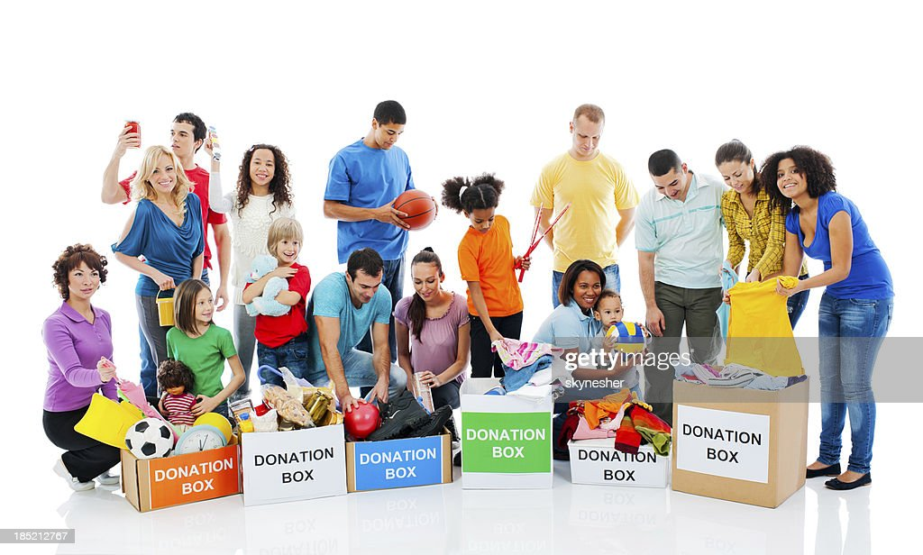 Happy people with donation boxes. : Stock Photo