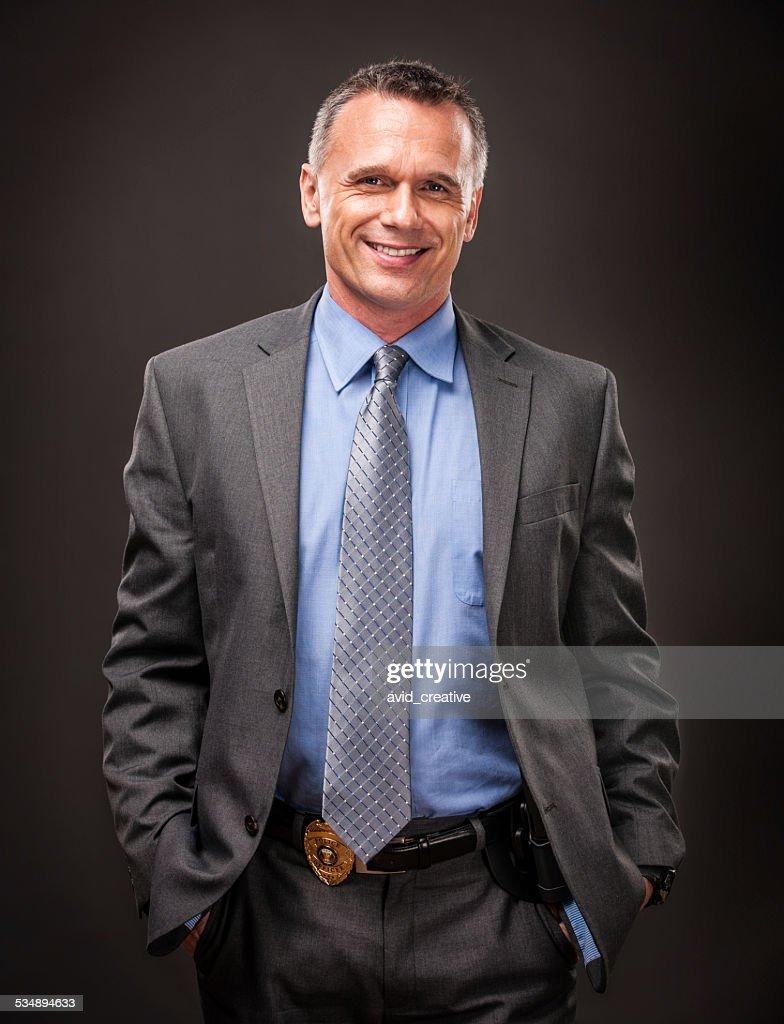 Happy Police Detective : Stock Photo
