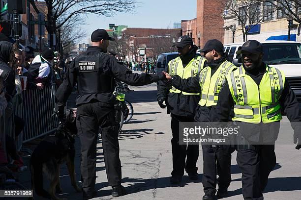 Happy police St Patricks Day Parade South Boston Massachusetts