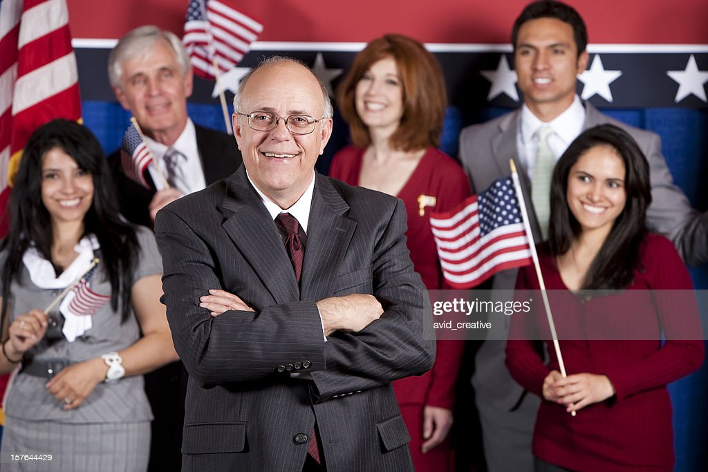 Happy Politician and Supporters : Stock Photo