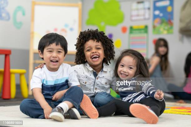happy preschool friends - preschool stock pictures, royalty-free photos & images