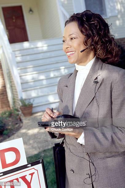 Happy real estate broker