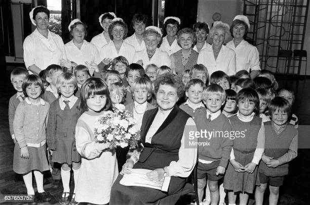 Happy retirement Grandma kitchen supervisor Mrs Joan Booth says farewell to colleagues and pupils at Meltham CE Junior and Infants School after 24...