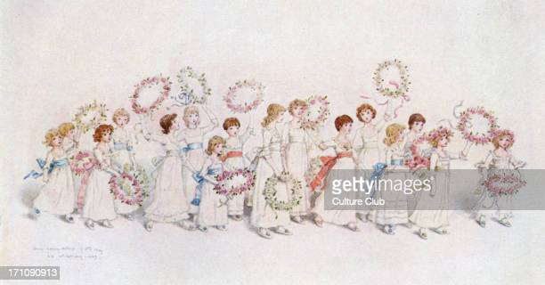 'Happy returns of the day' by Kate Greenaway Celebration with young girls dancing Watercolour Floral garlands