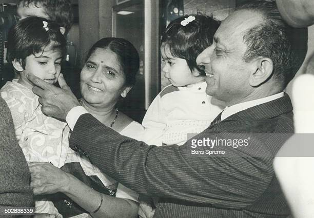 Happy reunion: Talakchand Doshi; the first Canadian home from the bloody hijacking at Karachi Airport; says hello to one of his grandaughters as his...