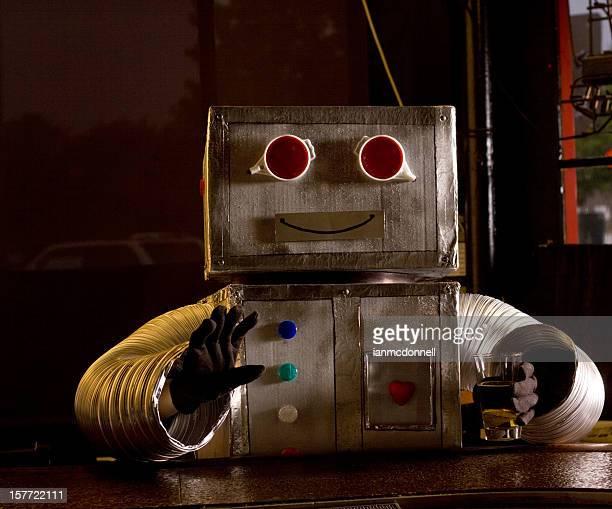 happy robot at bar