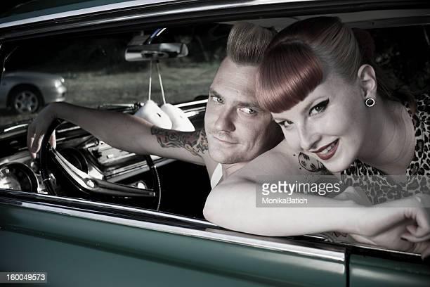 happy rockabilly couple
