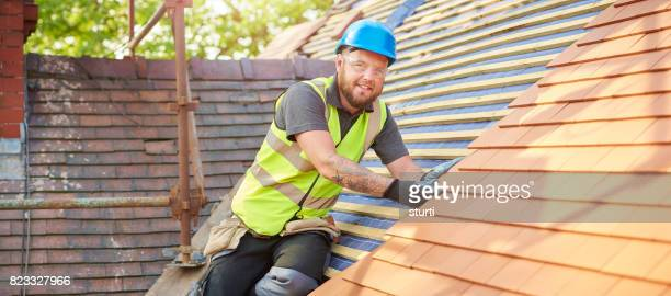 happy roofer portrait