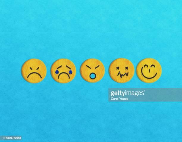 happy, sad, normal emoticon icons face. service, communication concept - feedback stockfoto's en -beelden