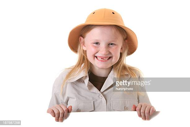 happy safari girl with sign - pith stock photos and pictures