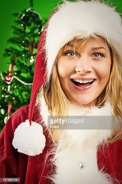 happy santa girl - santa face stock pictures, royalty-free photos & images