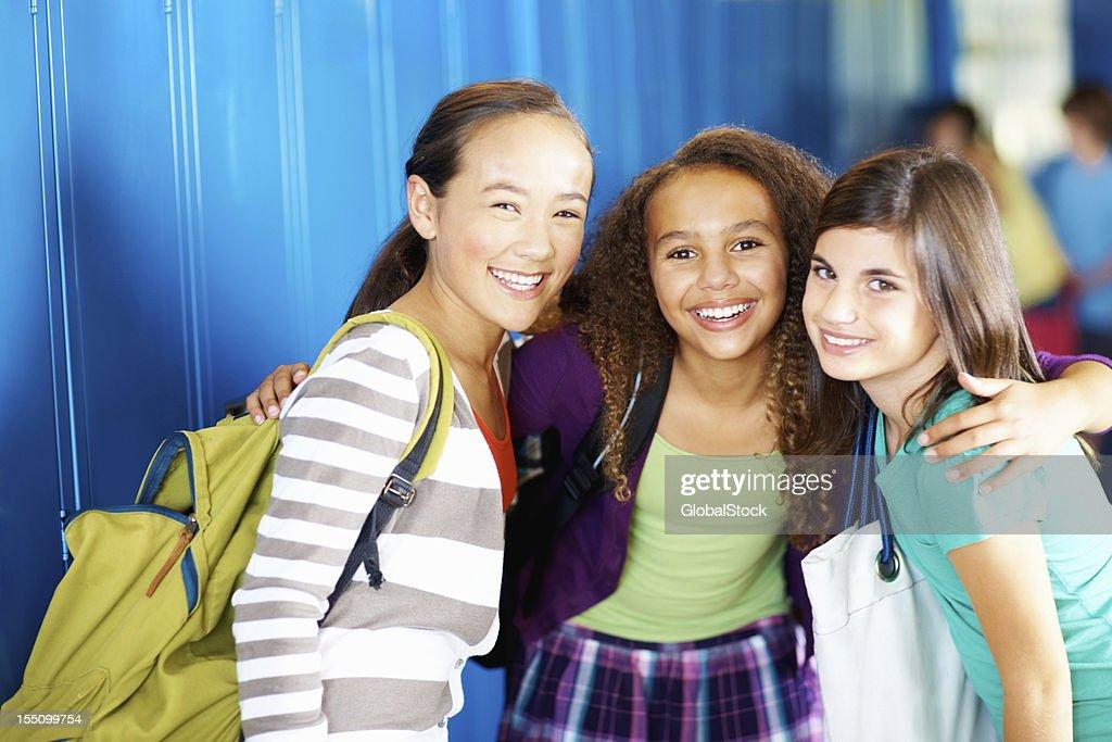 Happy school girls : Stock Photo
