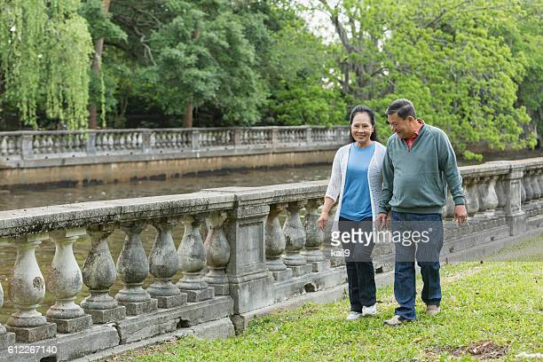 Happy senior Asian couple walking in park