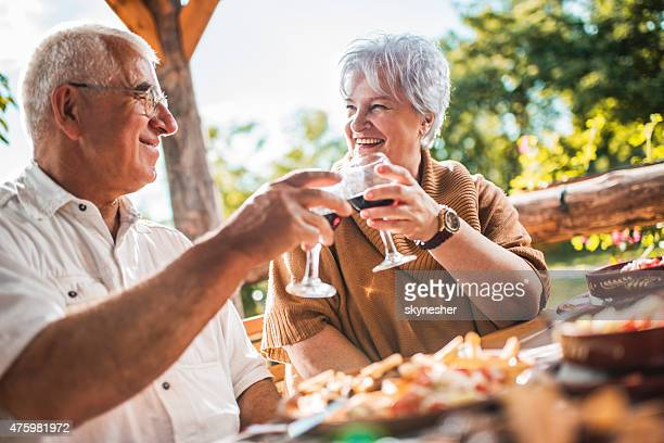 happy senior couple toasting with wine in a restaurant. - senior lunch stock photos and pictures