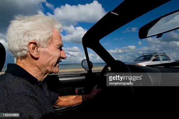 Happy senior driving