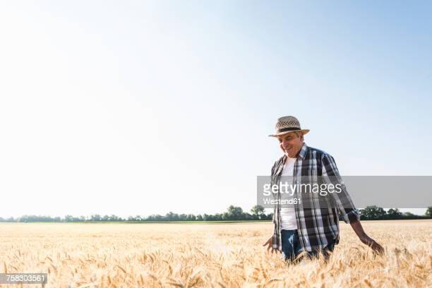 Happy senior farmer walking in wheat field