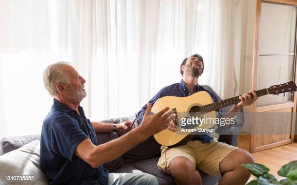 happy senior father sing song adult