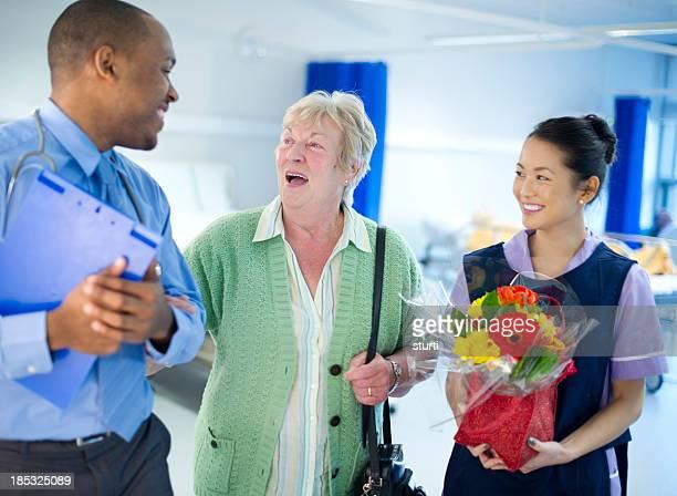 happy senior hospital visit
