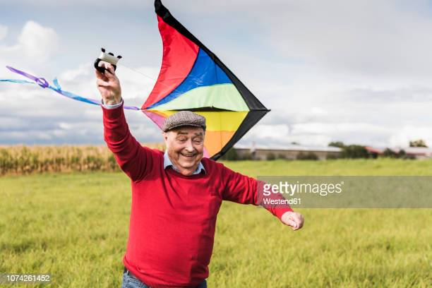 happy senior man flying kite in rural landscape - young at heart stock pictures, royalty-free photos & images
