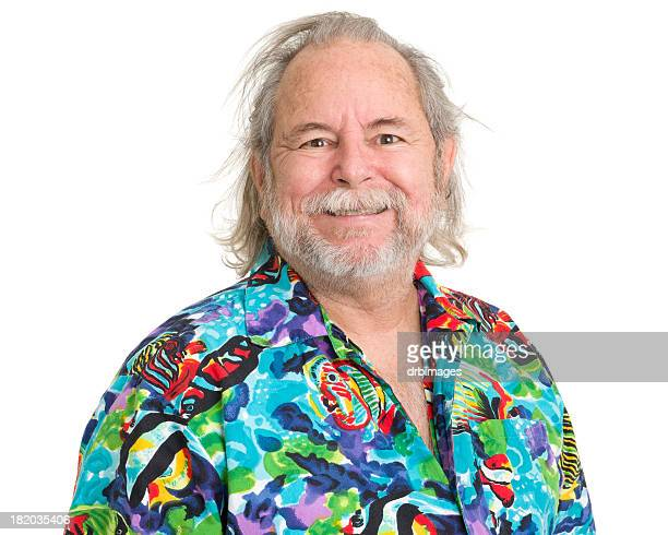 Happy Senior Man In Tropical Hawaiian Shirt