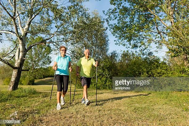 happy senior nordic walkers
