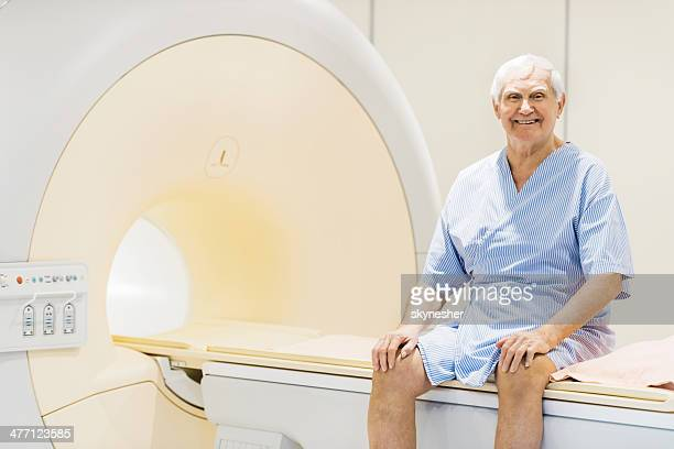 happy senior patient. - pet scan machine stock pictures, royalty-free photos & images