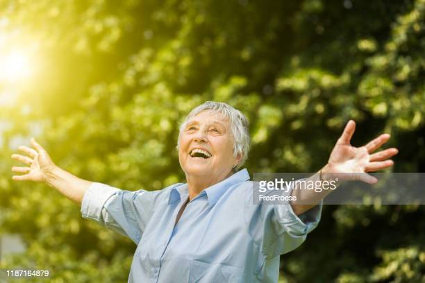 happy senior woman portrait - 80 89 years stock pictures, royalty-free photos & images