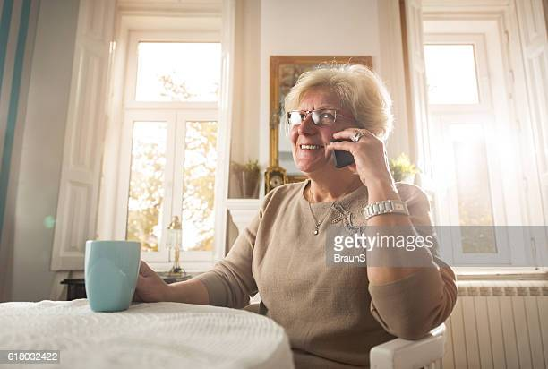 Happy senior woman talking on mobile phone at home.