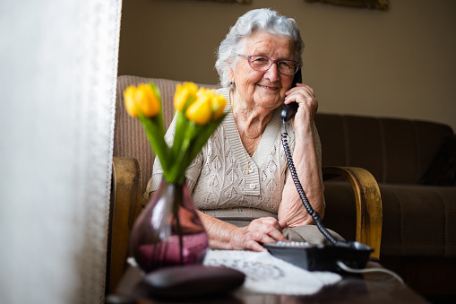 Happy senior woman talking on the phone in living room. 1150346160