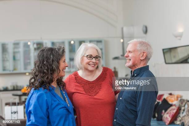 happy seniors chatting at home - colin hawkins stock pictures, royalty-free photos & images