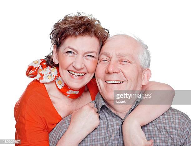 happy seniors, studio portrait - izusek stock pictures, royalty-free photos & images