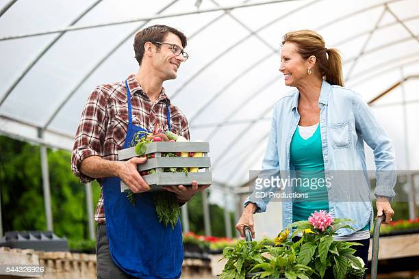 Happy shopper at her local plant nursery