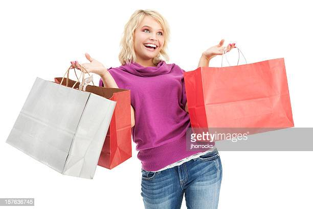 happy shopper - red pants stock photos and pictures