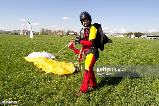 Happy skydiver after jump