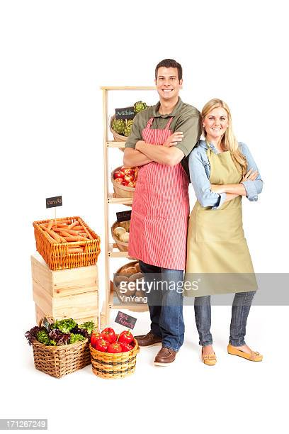 Happy Small Business Grocery Store Owners Partnership Couple on White