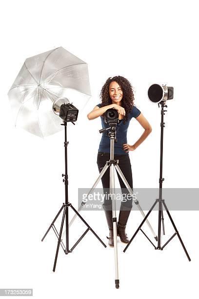 Glückliche kleine geschäftliche professionellen Fotografen auf weißem Hintergrund Hz