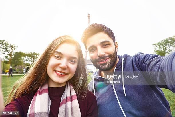 Happy smiling couple making selfie