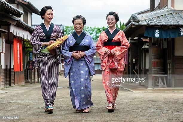 Happy smiling Japanese women in Edo town Kyoto,Japan