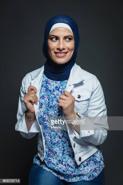 Happy smiling middle eastern woman with hijab portrait