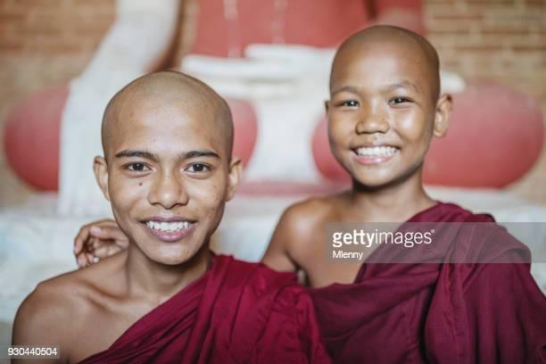 Happy Smiling Novice Monks Myanmar Burma