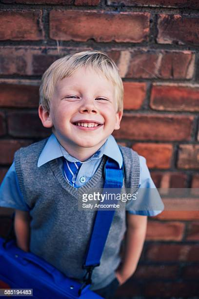 Happy smiling school boy
