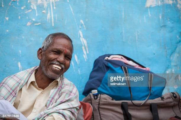 Happy Smiling Senior Adult Indian Pilgrim