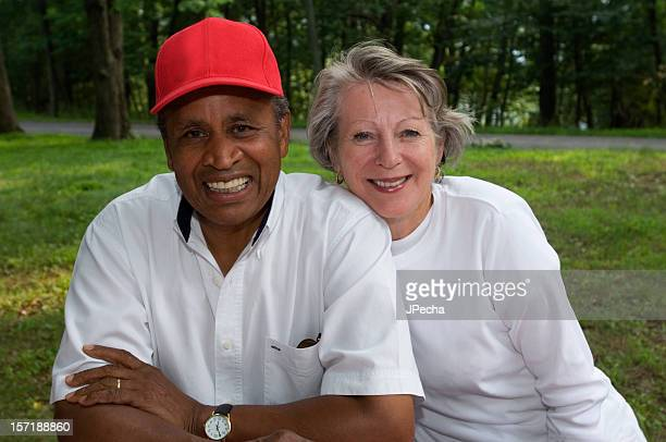 Happy Smiling Senior Adult Mixed Race Couple